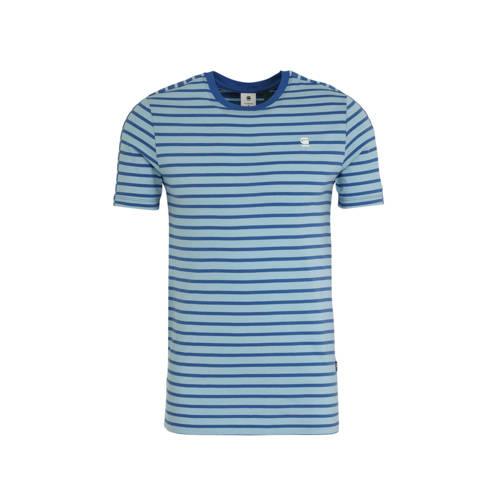 G-Star RAW gestreept T-shirt blauw/wit