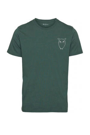 T-shirt met printopdruk donkergroen