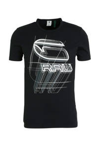 G-Star RAW T-shirt met printopdruk zwart/wit, Zwart/wit