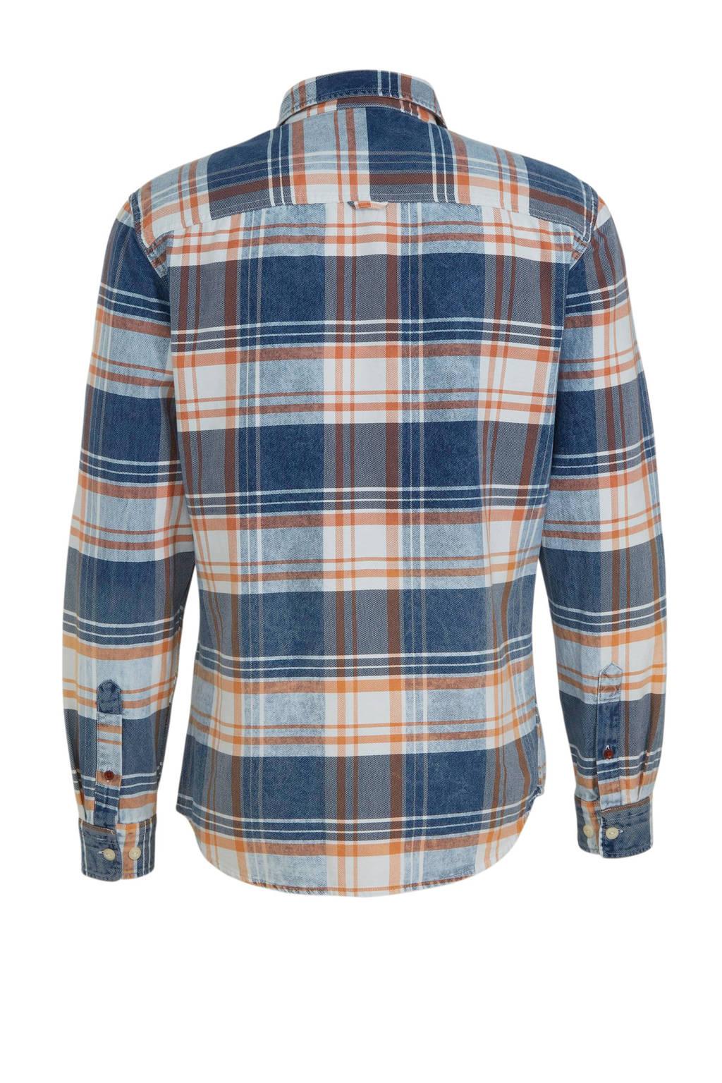 JACK & JONES PREMIUM geruit slim fit overhemd blauw, Blauw