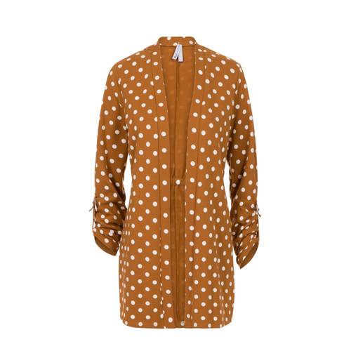 Miss Etam Regulier vest met stippen bruin