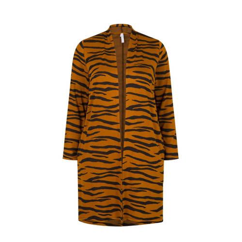 Miss Etam Plus vest met zebraprint bruin