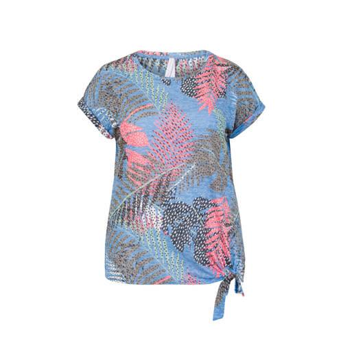 Miss Etam Plus T-shirt met bladprint blauw
