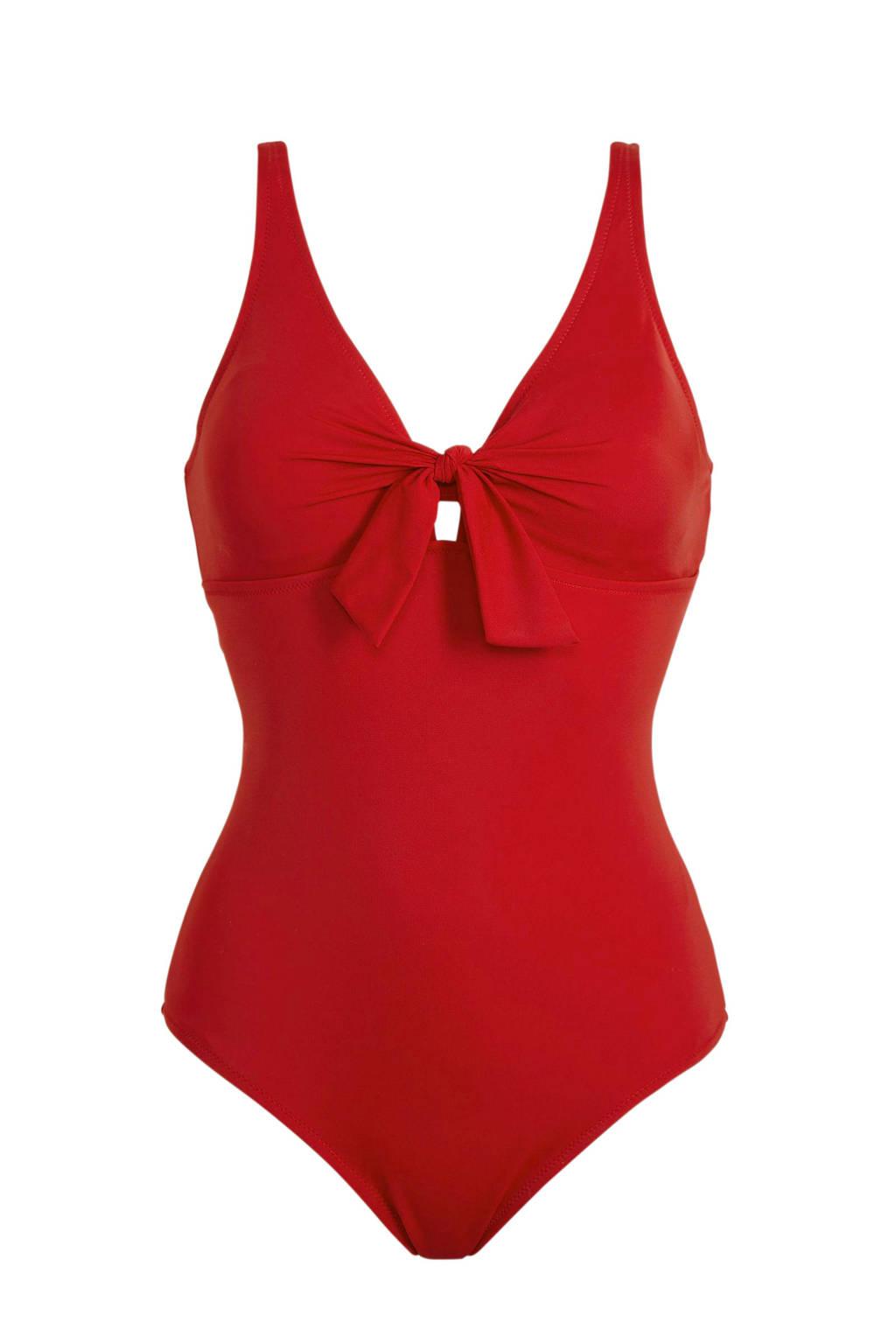 C&A badpak met knoop detail rood, Rood
