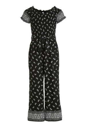 jumpsuit met all over print zwart/wit