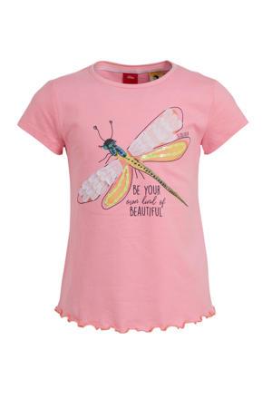 T-shirt met printopdruk en pailletten roze/geel