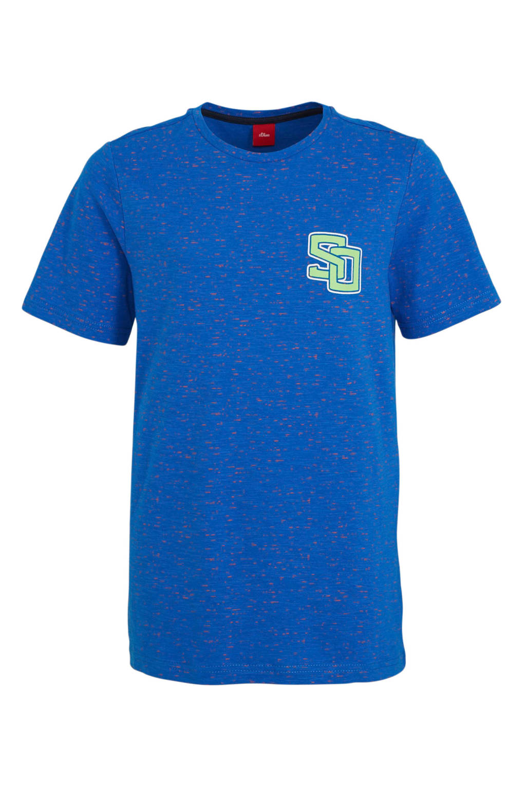 s.Oliver gemêleerd T-shirt blauw/groen, Blauw/groen