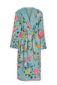 Pip Studio gebloemde velours badjas met capuchon Good Evening lichtblauw, Lichtblauw/roze/geel
