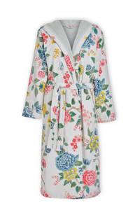 Pip Studio gebloemde velours badjas met capuchon Good Evening wit, Wit/geel/blauw/groen/roze/rood