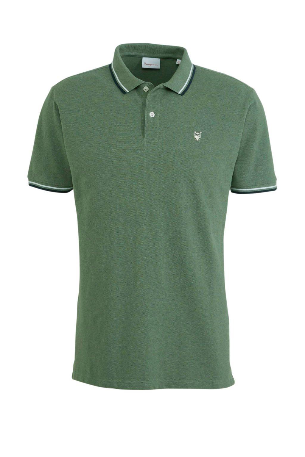 Knowledge Cotton Apparel slim fit polo groen, Groen