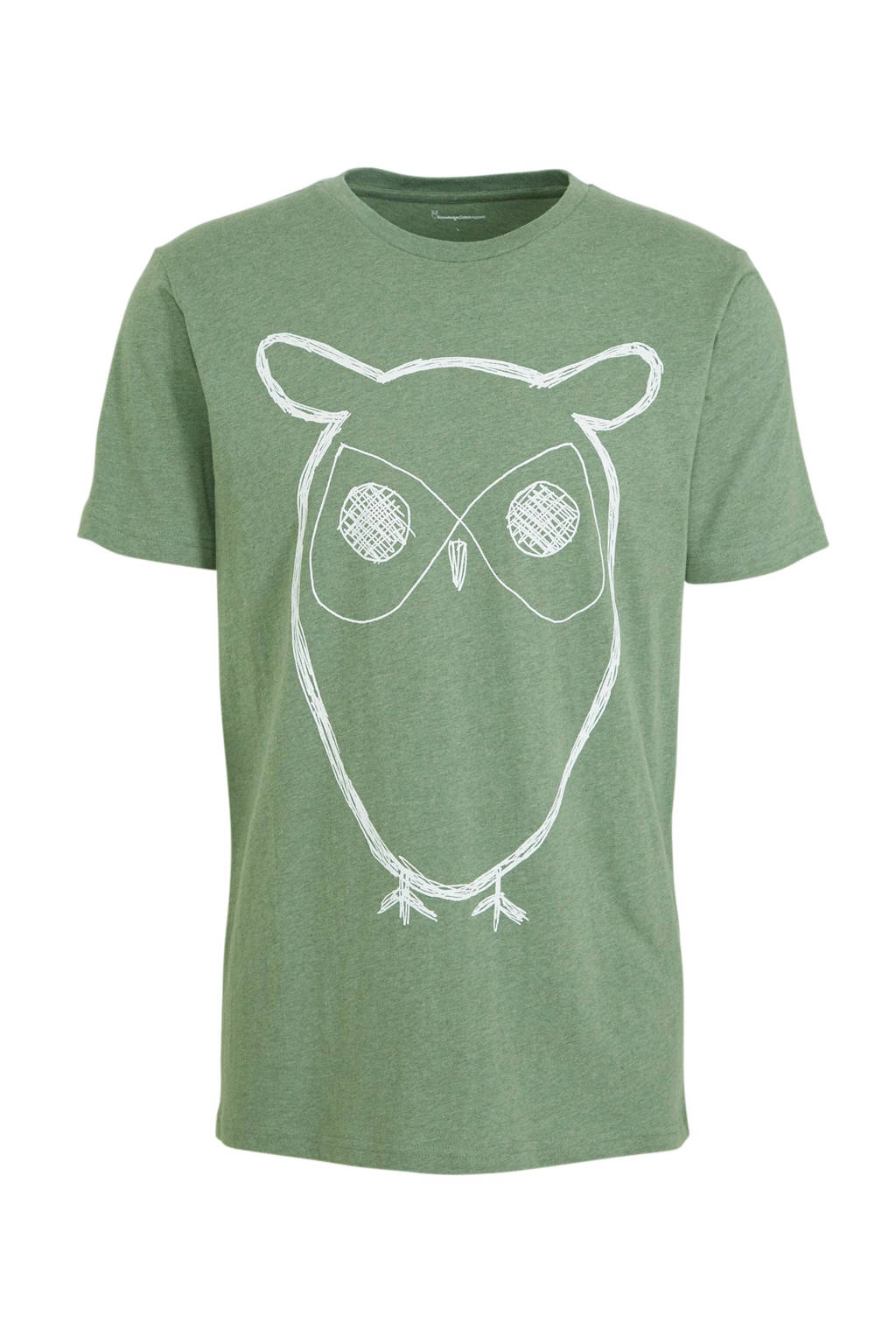 Knowledge Cotton Apparel T-shirt met printopdruk groen, Groen