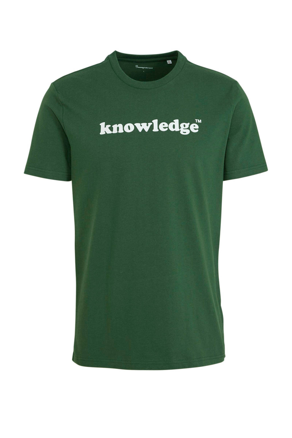 Knowledge Cotton Apparel T-shirt met logo groen, Groen
