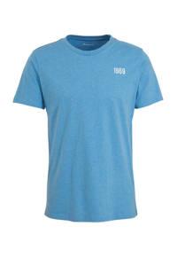Knowledge Cotton Apparel T-shirt met printopdruk lichtblauw, Lichtblauw
