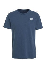 Knowledge Cotton Apparel T-shirt met printopdruk donkerblauw, Donkerblauw