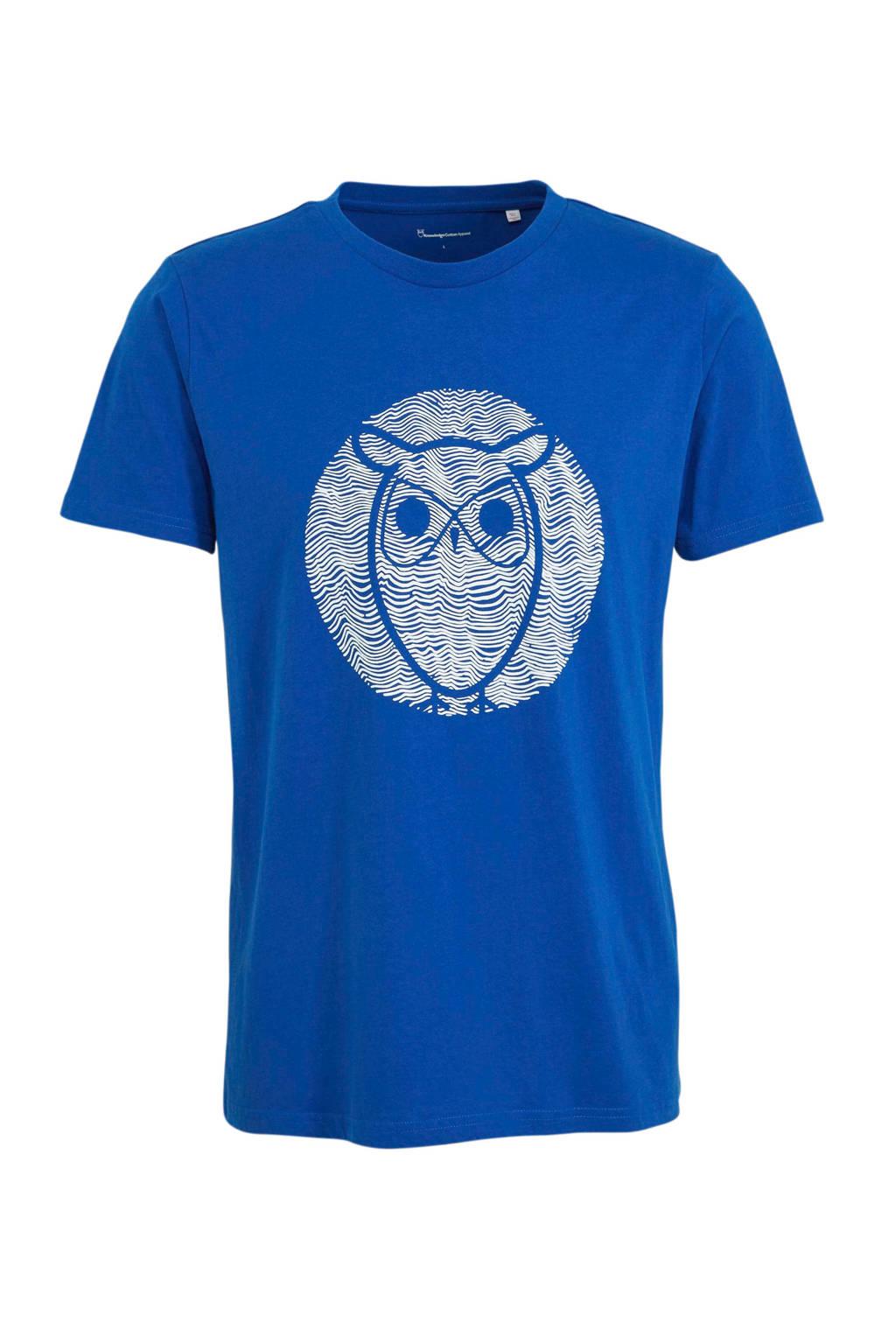 Knowledge Cotton Apparel T-shirt met printopdruk blauw, Blauw