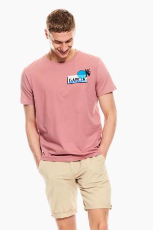 T-shirt met printopdruk oudroze