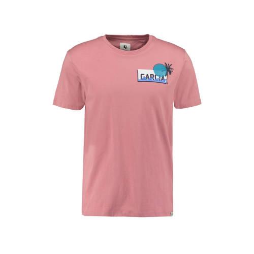 Garcia T-shirt met printopdruk oudroze