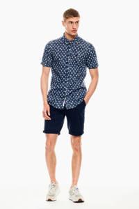 Garcia regular fit overhemd met all over print donkerblauw, Donkerblauw