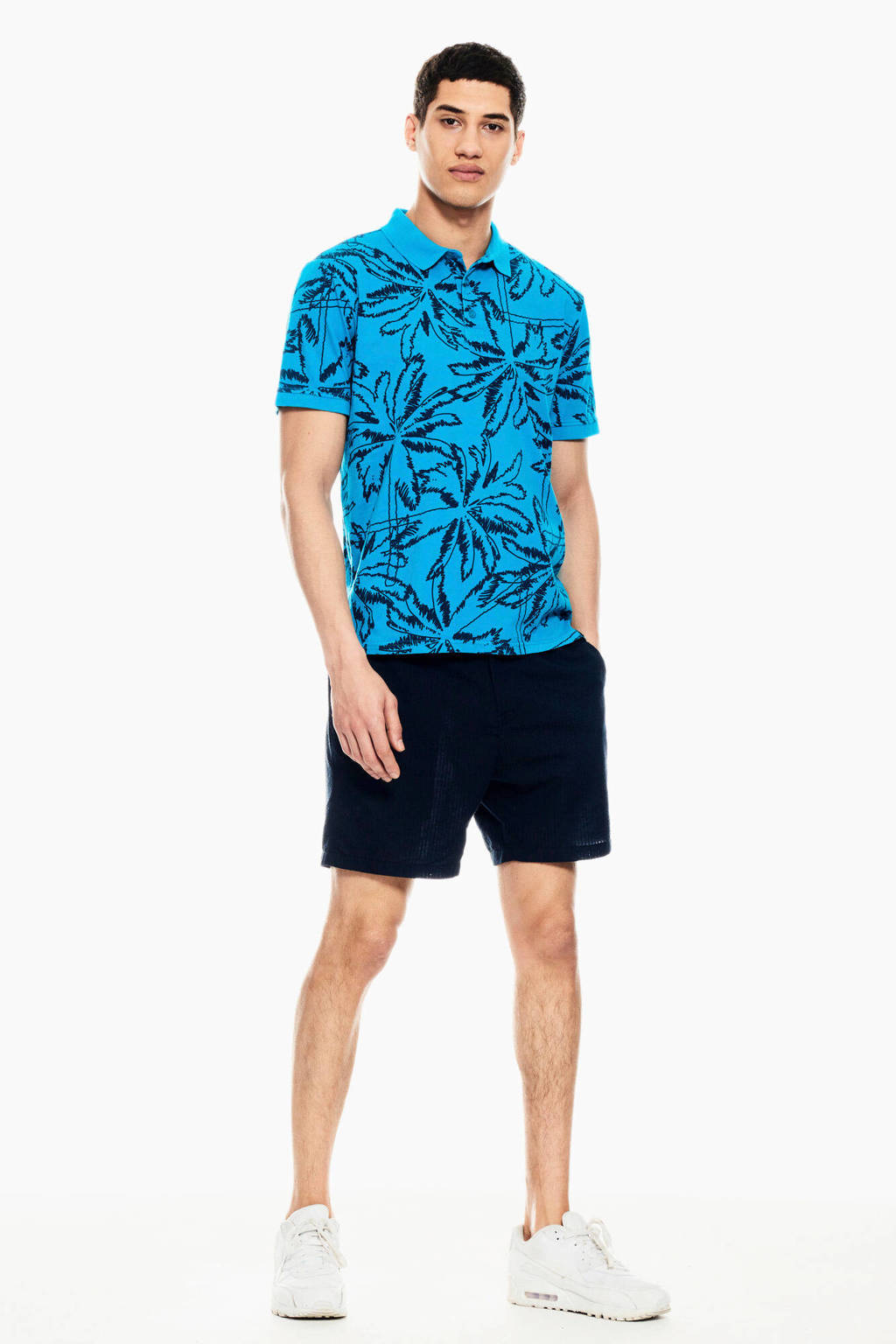 Garcia slim fit polo met all over print blauw, Blauw