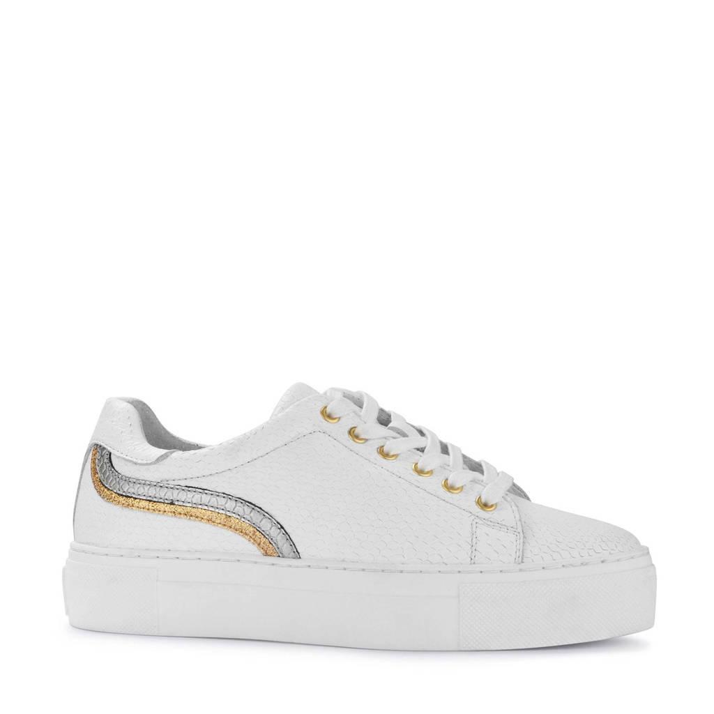 PS Poelman   leren plateau sneakers wit, Wit/goud/zilver