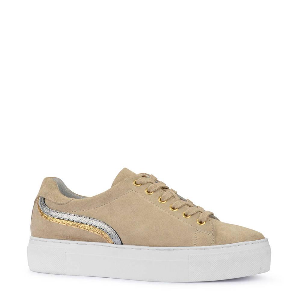 PS Poelman   suède plateau sneakers beige, Beige/goud/zilver