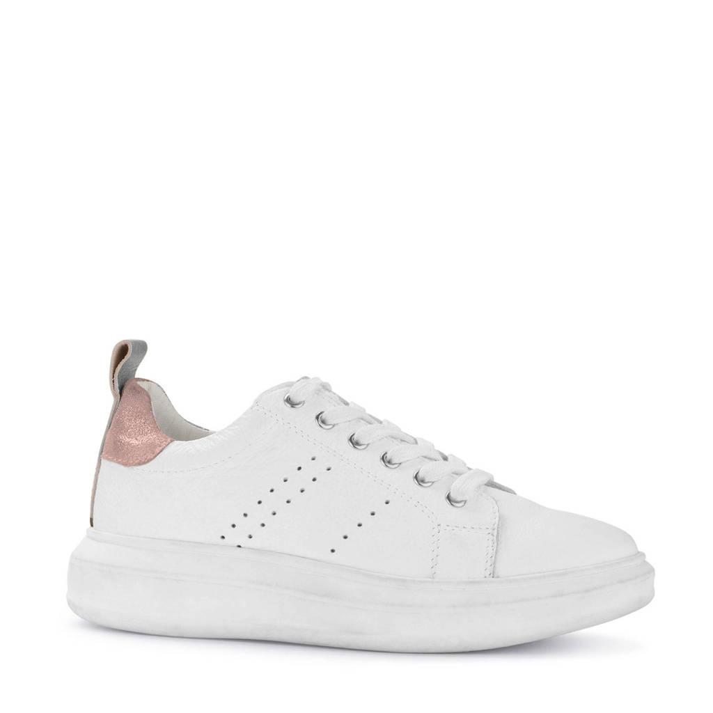 PS Poelman   leren sneakers wit/roze, Wit/roze