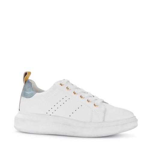 PS Poelman leren sneakers wit/metallic