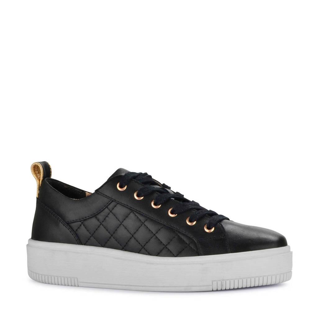 PS Poelman   leren sneakers zwart, Zwart/goud