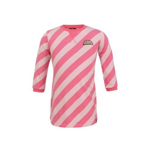Beebielove gestreepte jersey jurk lichtroze/fuchsi