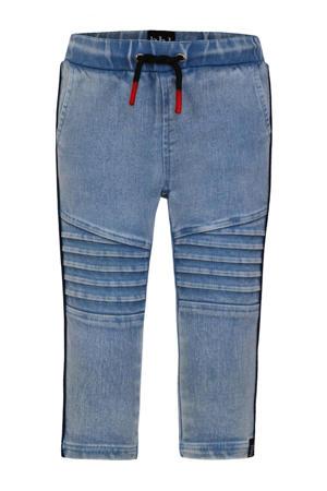 skinny broek met textuur blauw