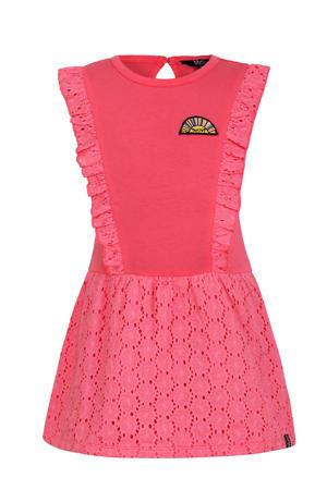 jersey jurk met ruches roze