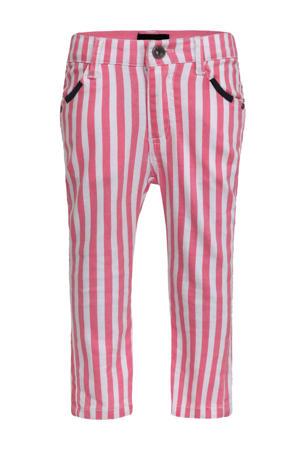 gestreepte skinny broek rood/wit
