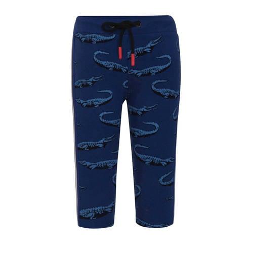 Beebielove skinny broek met all over print blauw/d