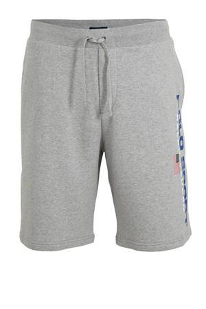 +size regular fit sweatshort met logo grijs melange