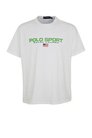 +size T-shirt met logo wit