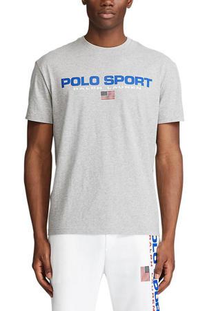 +size T-shirt met logo grijs melange