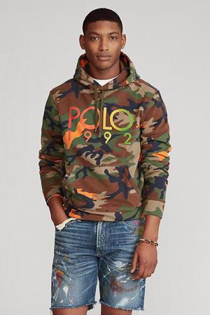 hoodie met camouflageprint groen/bruin/oranje