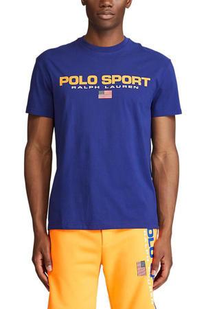 T-shirt met logo kobaltblauw