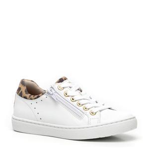 leren sneakers wit/panterprint