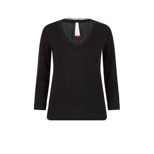 Miss Etam Regulier trui en kant zwart
