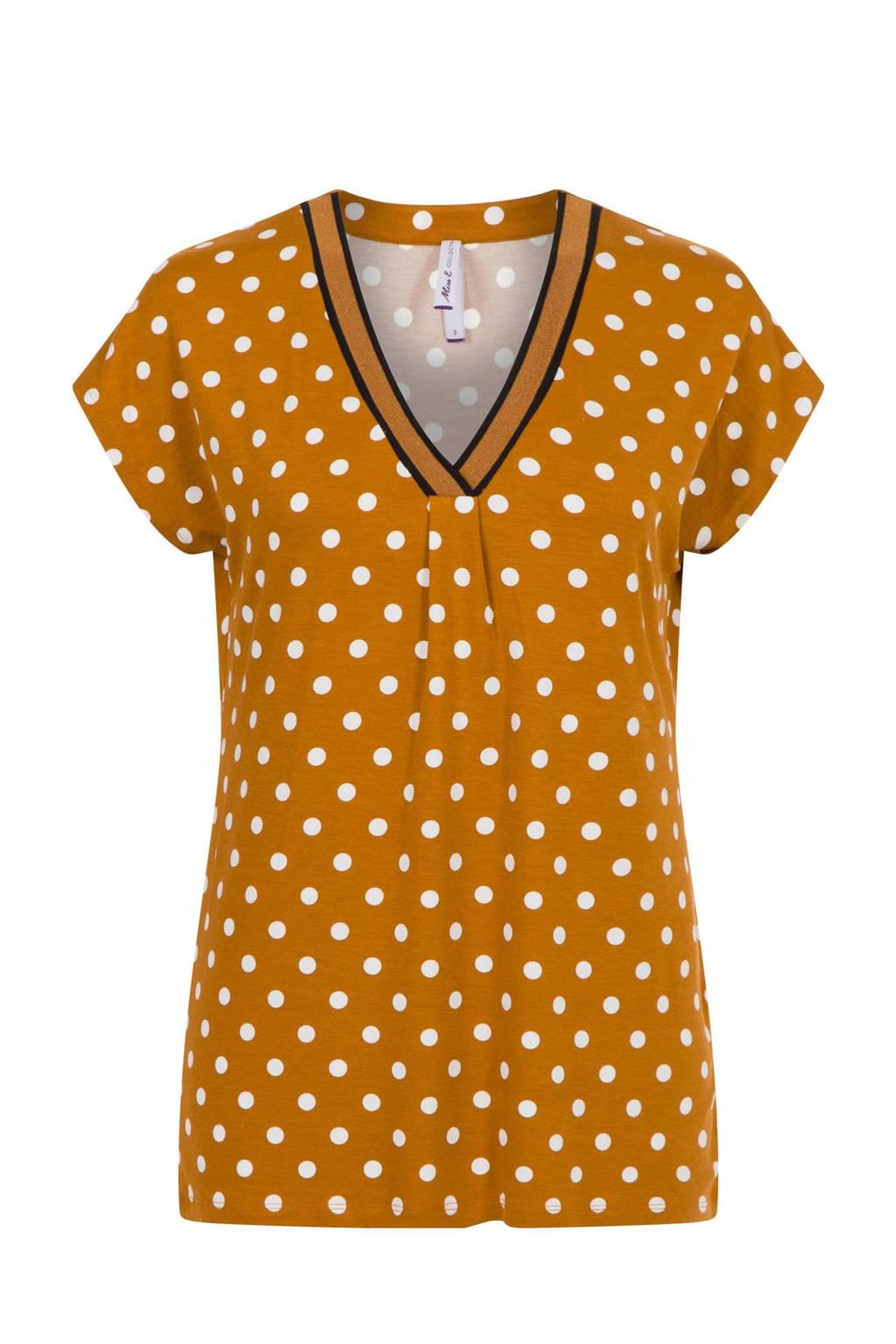 Miss Etam Regulier T-shirt met stippen bruin, Bruin