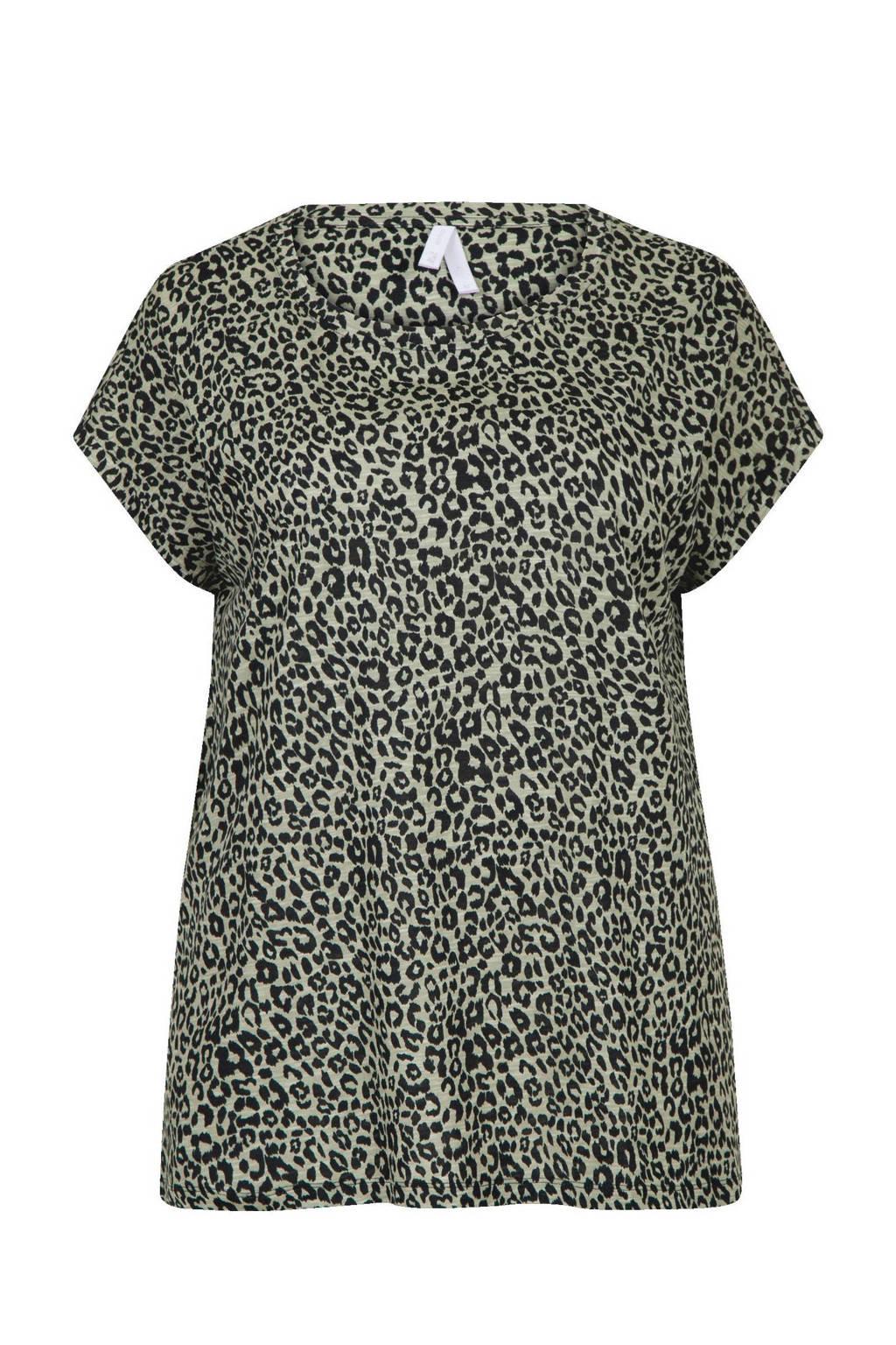Miss Etam Plus T-shirt met panterprint zand/zwart, Zand/zwart
