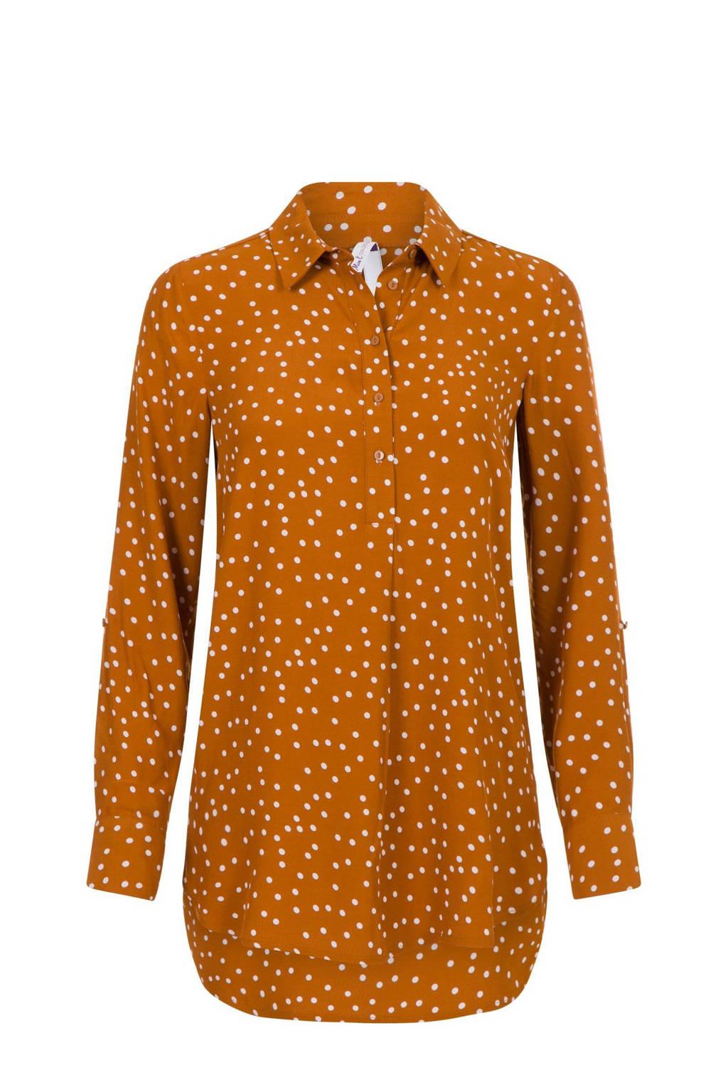 Miss Etam Regulier blouse met stippen bruin, Bruin