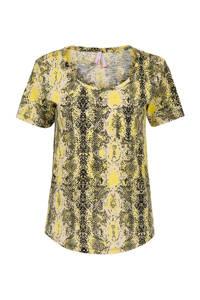 Miss Etam Regulier T-shirt met slangenprint geel, Geel
