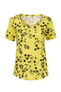 Miss Etam Regulier gebloemd T-shirt geel/zwart, Geel/zwart