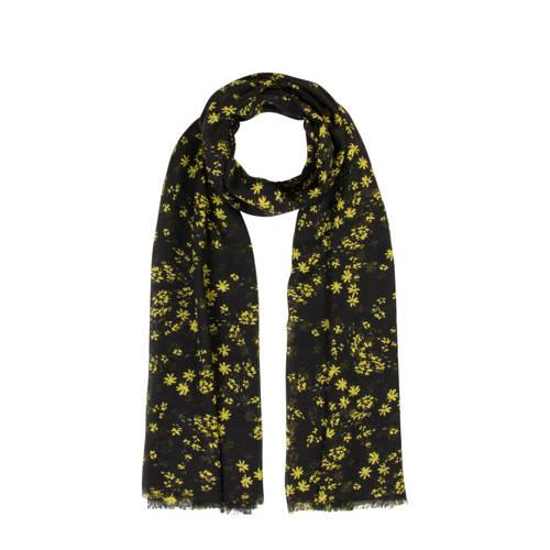 Miss Etam Accessoires sjaal met bloemen zwart/geel
