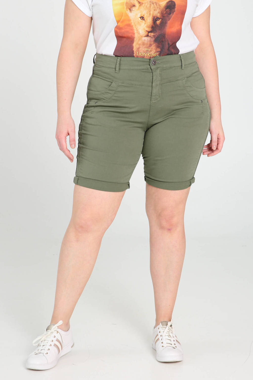 Paprika high waist skinny bermuda groen, Groen