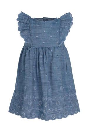 jurk met ruches blauw