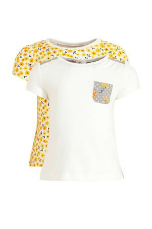 T-shirt - set van 2 geel/wit/donkerblauw