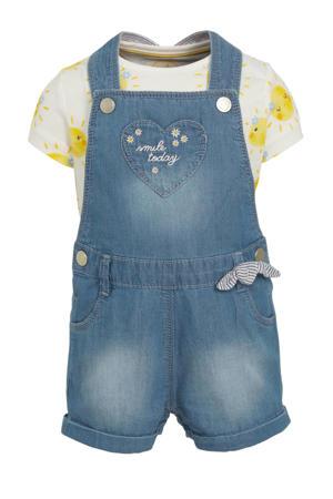 baby tuinbroek met T-shirt blauw/geel